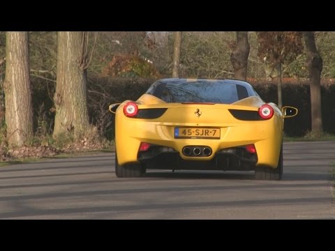 Black and Yellow Ferrari 458 Italia | Driving scenes + Accelerations + Track