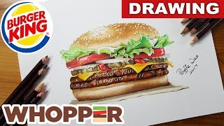 Burger King Whopper Burger Drawing | Realistic Color pencil & Ink | How To Draw