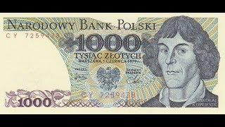 Банкноты Польши 1000 злотых 1975 Николай Коперник Banknoty Polski 1000 Zł 1975 Mikołaj Kopernik