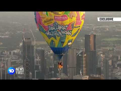 'Love Letter to Melbourne' balloon flies over the City of Melbourne