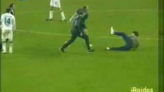 WORST Soccer Foul Ever. Crazed Fan Runs In Middle Of The Field And Is Tripped By Player