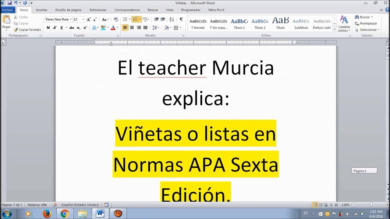 Cómo hacer Viñetas y listas con NORMAS APA 6ta Edición 2017. LA MÁS ...