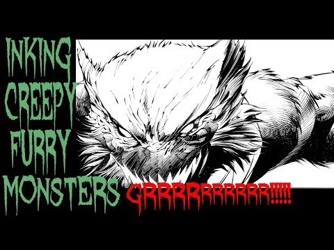 INKING CREEPY FURRY DUDE TONS of DETAIL!!