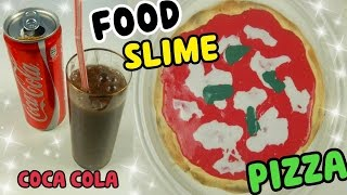 SLIME FOOD (SLIME PIZZA E SLIME COCA COLA) Slime Most Satisfying! +ASMR SLIME Iolanda Sweets