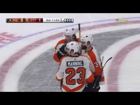 Brandon Manning Fortunate Goal Off The Glass - Philadelphia Flyers vs Ottawa Senators 2/24/18