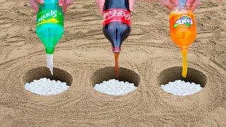 Experiment: Coca Cola, Fanta, Sprite vs Mentos in different Holes Underground