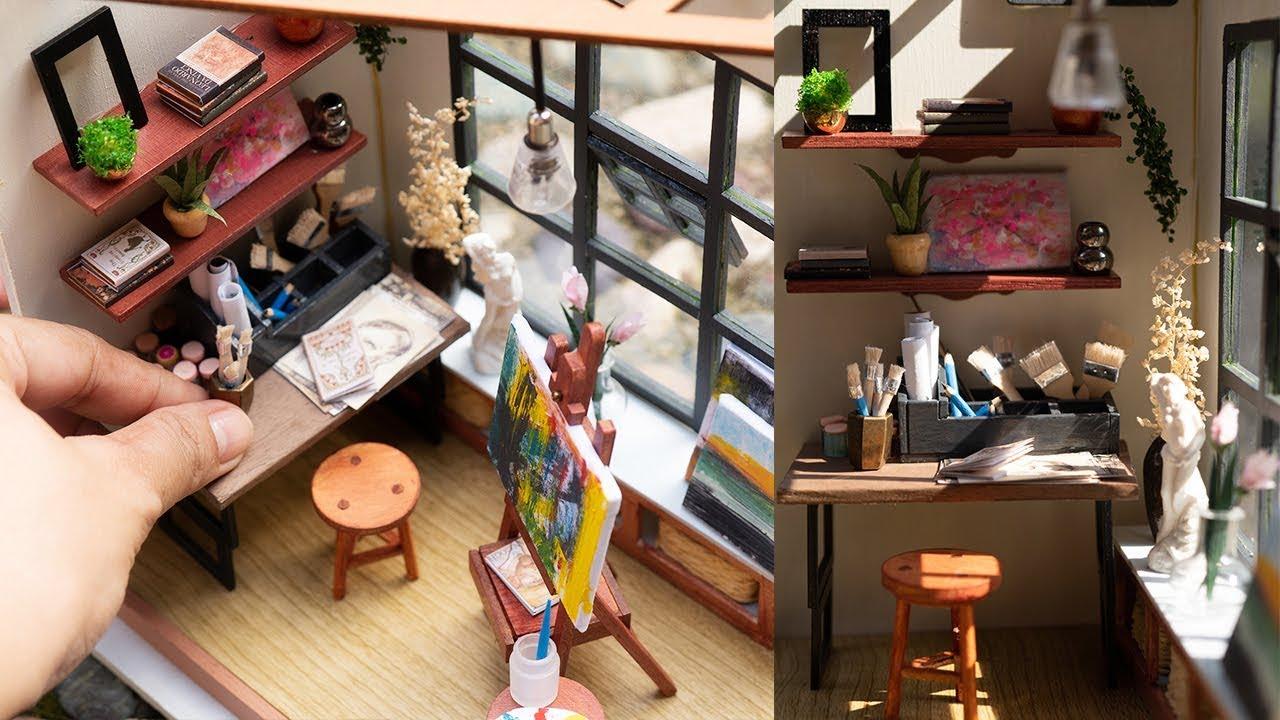 Diy Dollhouse Art Room Robotime Ada S Studio Customized Kit