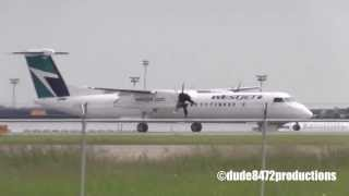 Westjet Encore Q400 INAUGURAL Takeoff from Calgary (MUST SEE)