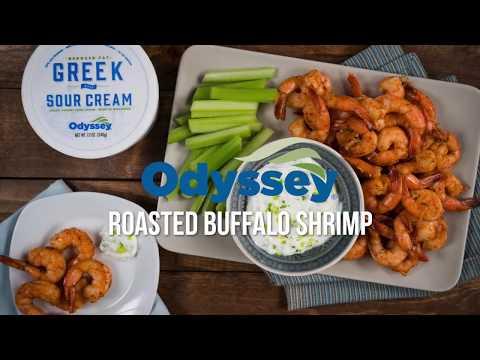 Roasted Buffalo Shrimp Recipe with Odyssey Greek Sour Cream