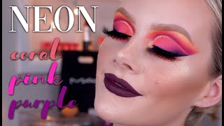 NEON CUT CREASE! | CORAL, PINK, PURPLE