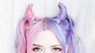 halloween devil horn hair tutorial | kayla hadlington