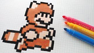 Handmade Pixel Art - How To Draw a Raccoon Mario #pixelart