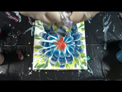 (247) Flower painting tutorial / Reverse flower dip / Acrylic pouring / Fluid acrylics