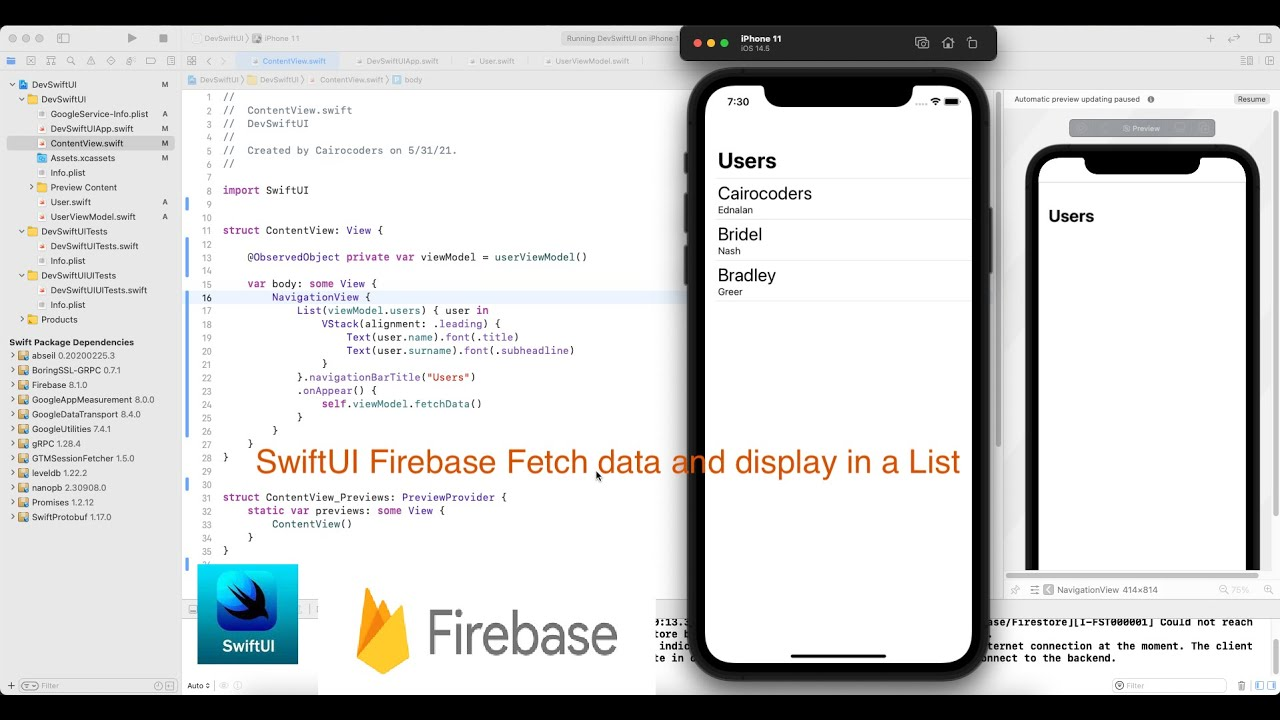 SwiftUI Firebase Fetch data and display in a List