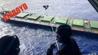 HC-130 Hercules Drops Supplies - Sincerity Ace Ship Fire