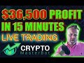 Crypto Master Bot $36,500 In 15 Minutes Live trading! + Bitcoin to reach $20k next week.
