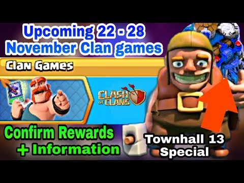 Coc Upcoming 22 - 28 November Clan Games 2019 Full Confirm Rewards-Coc November 2019 Clan Games-Coc