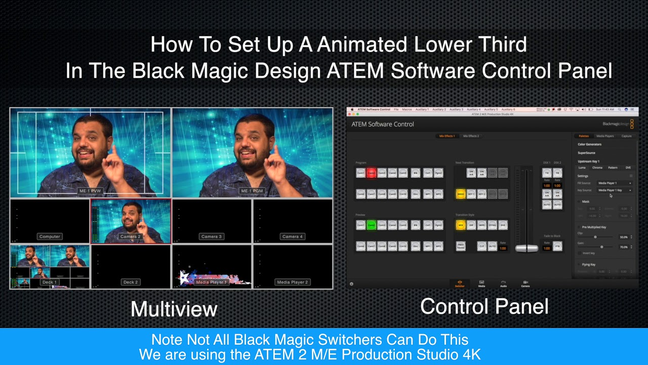 How To Set Up A Animated Lower Third For Black Magic Design Atem Video Switchers Youtube