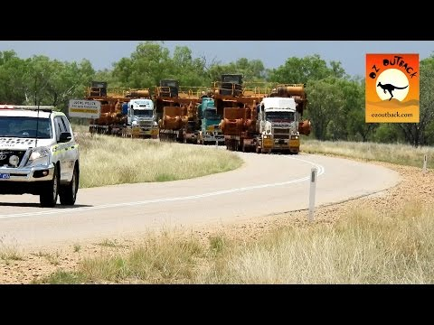 Oversize load mining truck transport in the outback