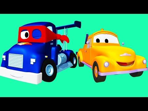 Carl o Super Caminhão com Tom o Caminhão de Reboque e os amigos na Cidade do Carro | Desenhos