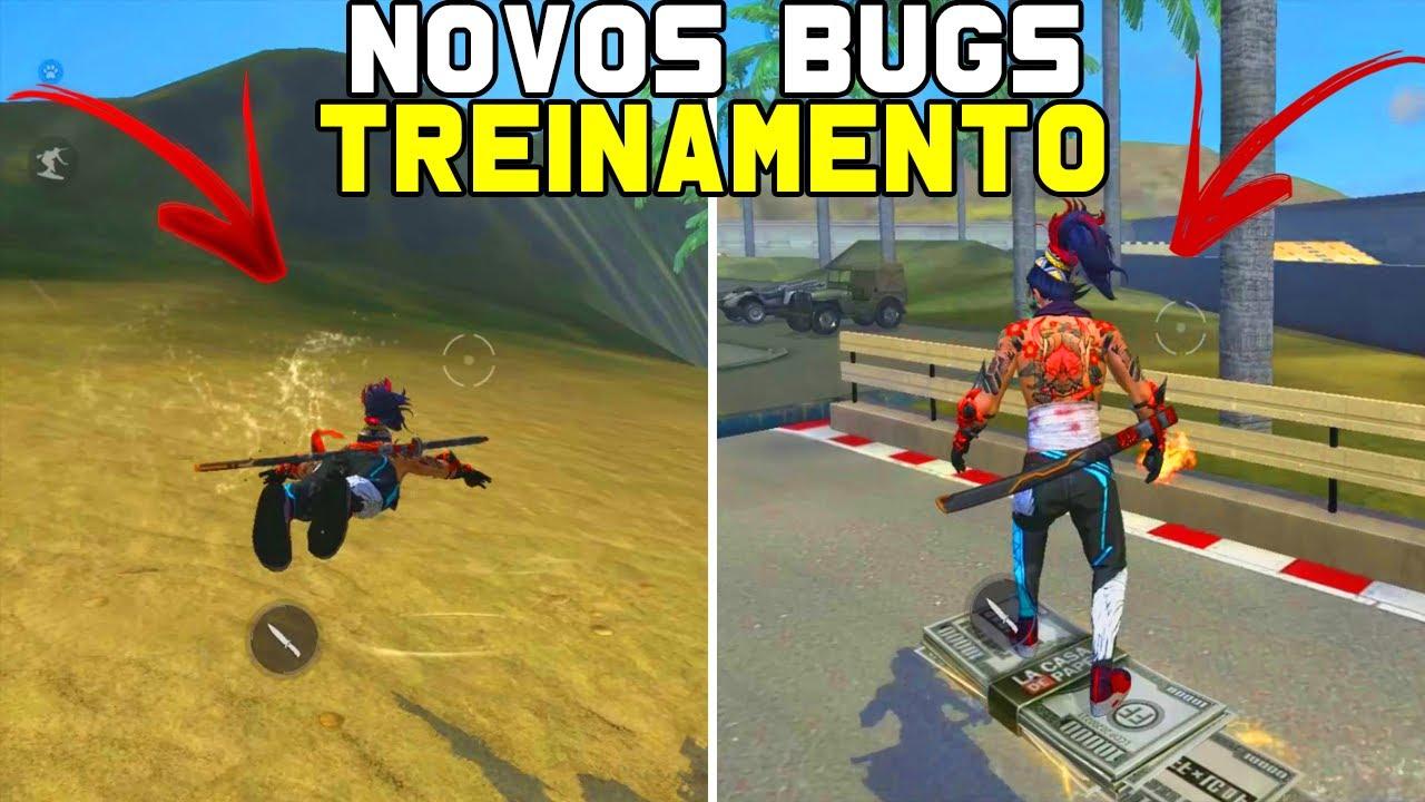 NOVOS BUGS NO MODO TREINAMENTO DO FREE FIRE (VOAR, NADAR, SUBIR NA PRANCHA)