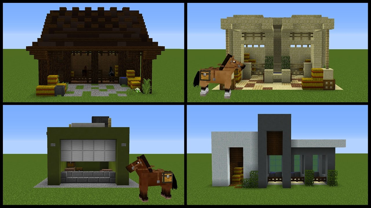 Minecraft: 8 Horse Stable Designs! - YouTube