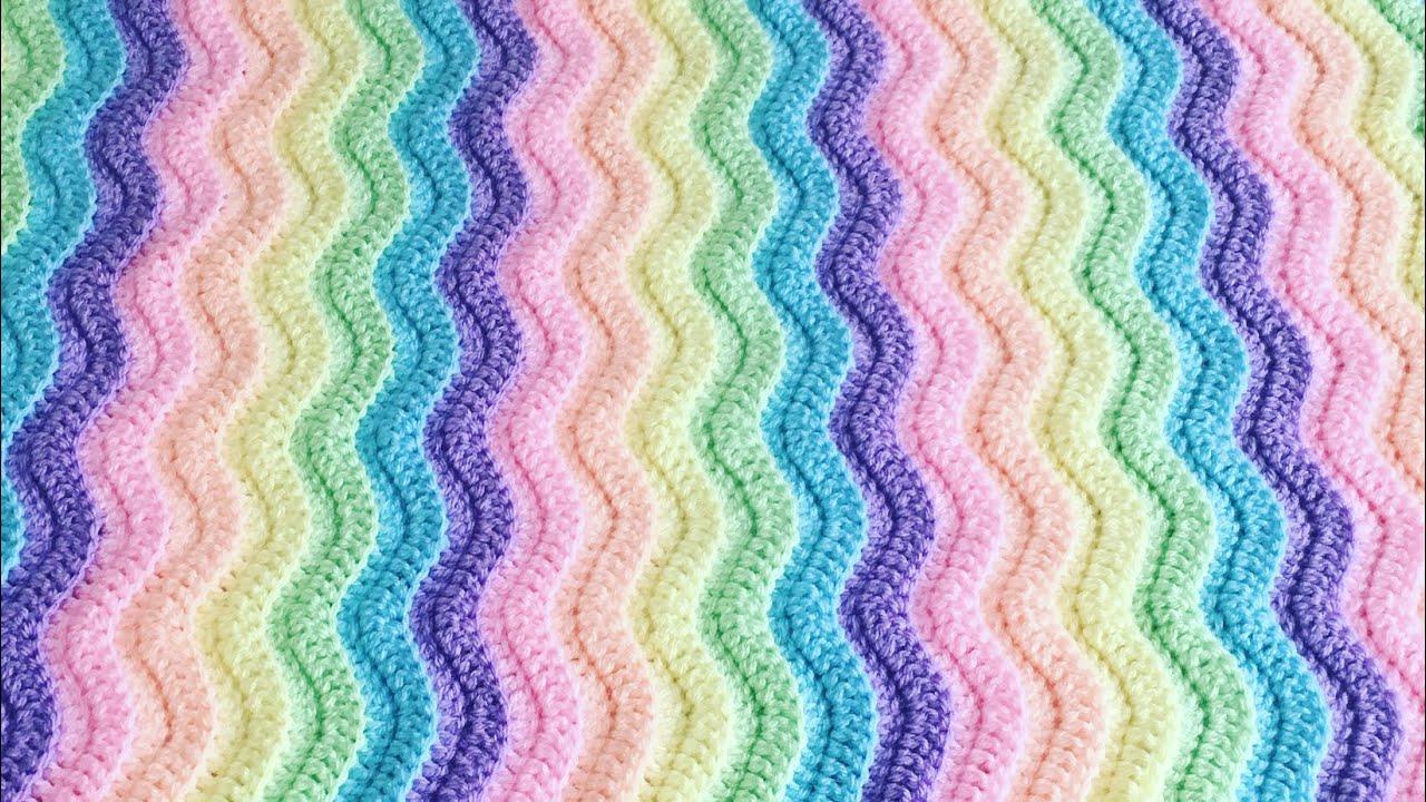 Simple Crochet Ridged Ripple Blanket Scarf Youtube