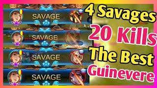 4 Savages in ONE Game New Meta GUINEVERE? Best Build & Emblem Set | Mobile Legends: Bang Bang