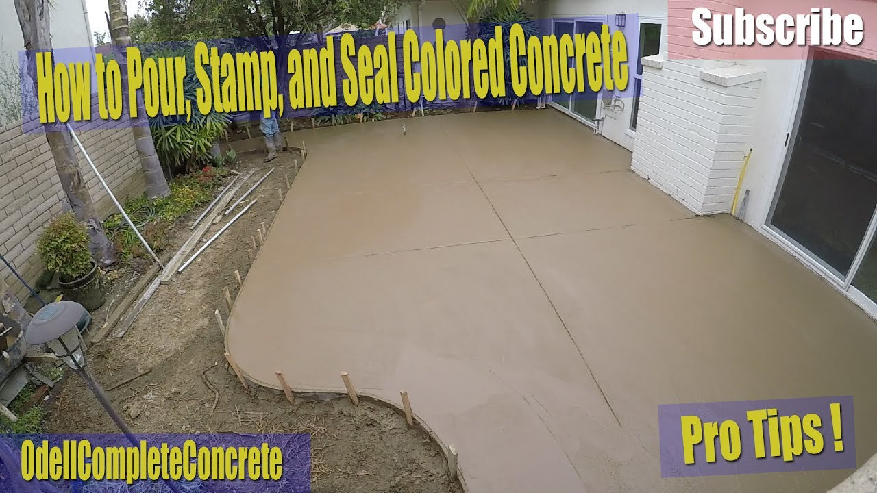 how to pour stamp and seal a colored concrete backyard patio