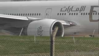 Emirates 777-300ER A6-EBL Takeoff at Birmingham Airport, Full ATC.