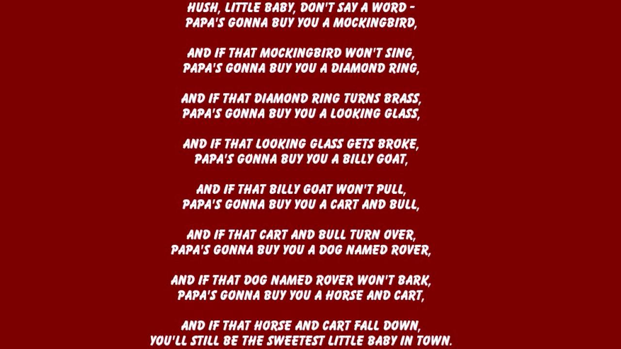 Hush Little Baby Don T You Cry Lyrics - LyricsWalls