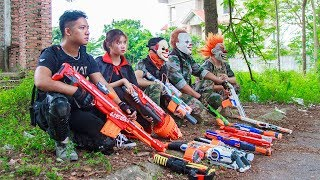 NERF WAR : Two Special Police SWAT Warriors Nerf Guns Fight Group Crime Mask In Forbidden Forest