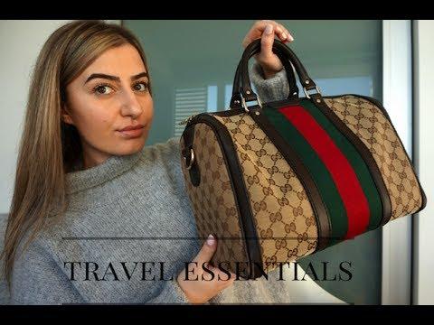 WHAT'S INSIDE MY TRAVEL BAG | GUCCI BOSTON BAG
