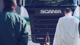 Japanese Shinto priest blesses a new Scania truck