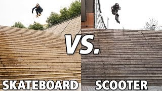 Skateboard vs Scooter Lyon 25 Stairs