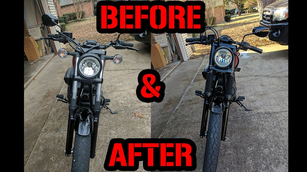 Before After Yamaha Bolt Drag Bars Grips Fork Gaiters