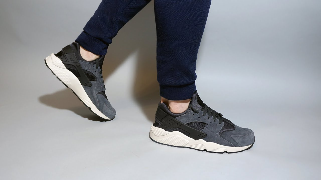 d188d6e097c Nike Air Huarache Run Premium grey beige 704830-016 On feet - YouTube