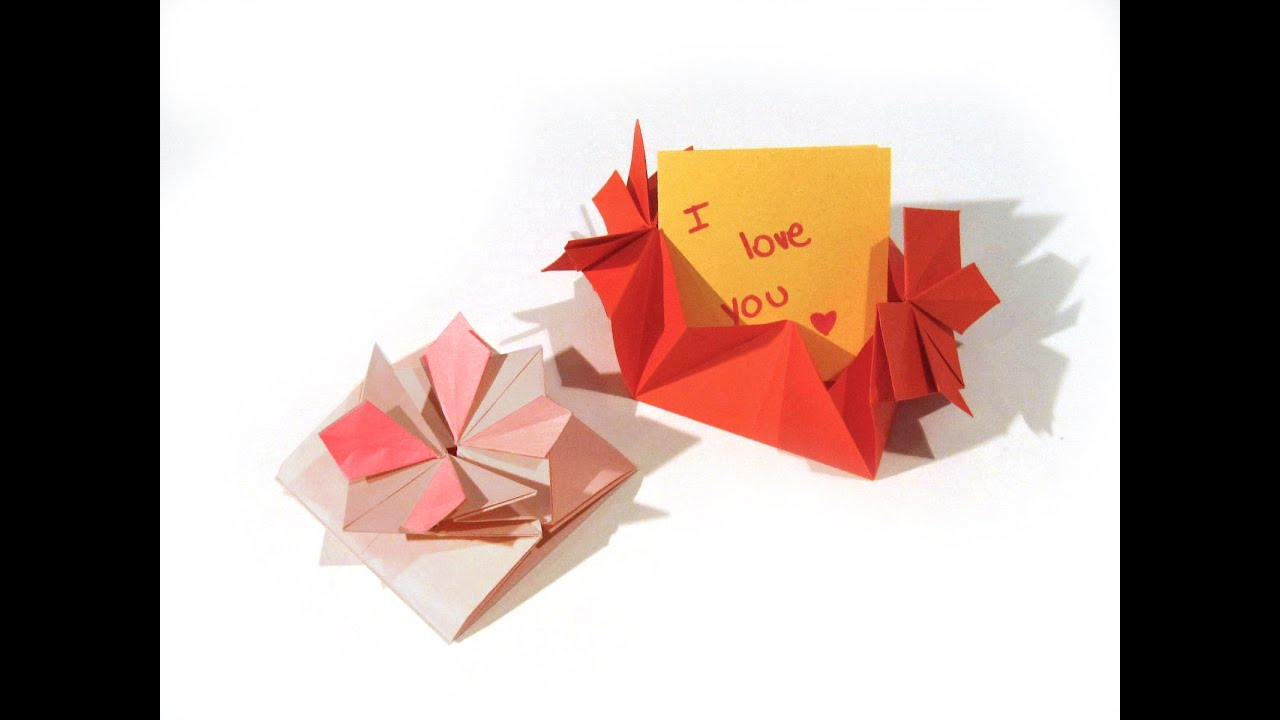 Origami valentines day flower card envelope with secret message origami valentines day flower card envelope with secret message flower card easy origami youtube mightylinksfo