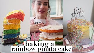 BAKING A RAINBOW PINATA CAKE FOR MY SISTER'S BABY SEX REVEAL