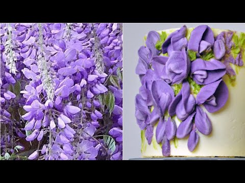 How to pipe wisteria blossoms - Mini buttercream flower cake 3/4 - relaxing cake decorating tutorial