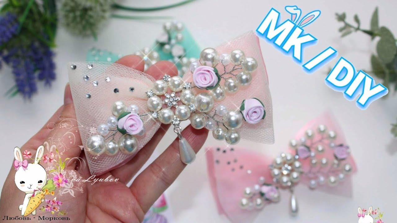 100% НЕЖНОСТИ! Праздничная заколка для принцессы / МК канзаши / DIY holiday hairpin