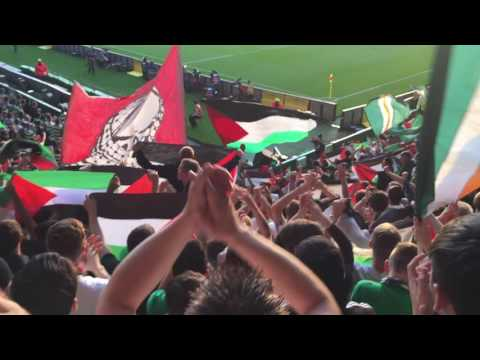 Celtic Fans Standing Section -  Palestine Flags - Celtic Symphony