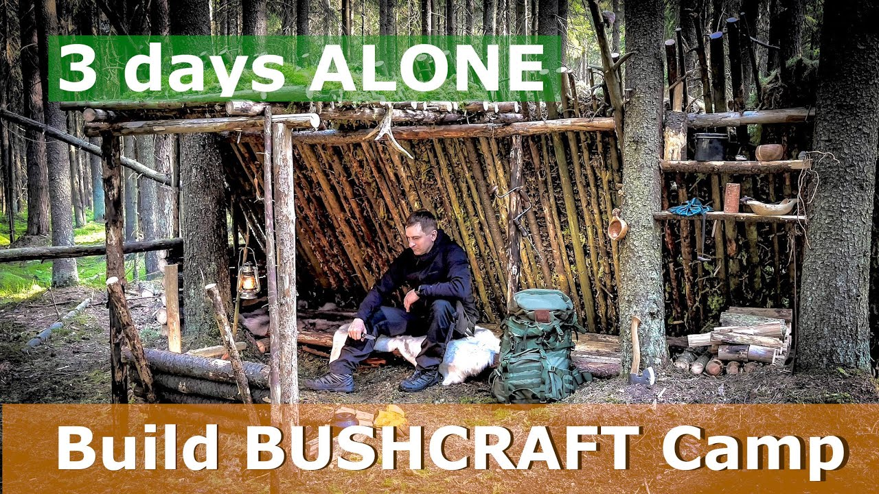 BUSHCRAFT [ primitive technology ] SHELTER 3 days ALONE in FOREST water from SPHAGNUM & Nettle Soup