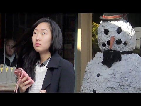 Scary Snowman Hidden Camera Practical Joke  Providence Rhode Island 2016 Episode 6