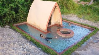 Building Water Well , Underground Swimming Pool Around Villa And Beautiful Decoration Private House