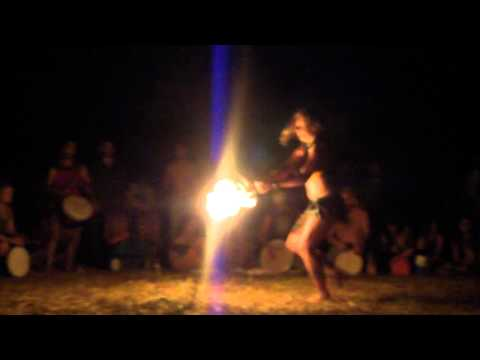 Fire fan girl at the Rainbow Family Gathering 2012