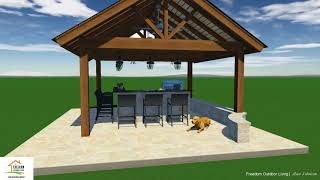 Freedom Outdoor Living - Cedar Pavilion and Fire Pit - Customer 3D Project Rendition