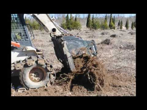 Video of Field Work on a Tree Farm    Stump Pulling