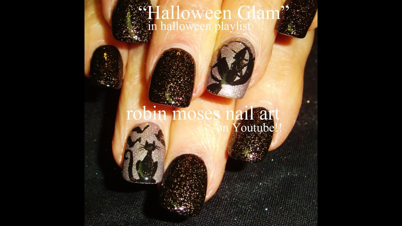 Black Cat Nails And Witch In A Moon Nail Art Tutorial Design Youtube