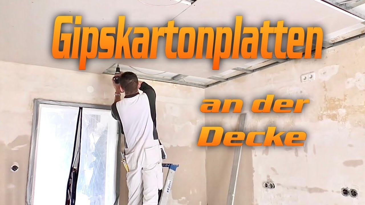 trockenbau gipskartonplatten richtig unter deckenkonstruktion schrauben hobein youtube. Black Bedroom Furniture Sets. Home Design Ideas